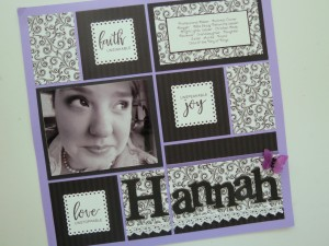 Creating Illusion the final result 12x12 Violet Mosaic Moments Grid Paper, Column Pattern #229, Scallop Dot Mat Die, Black & White theme, Project Faith journal cards by Danielle Young