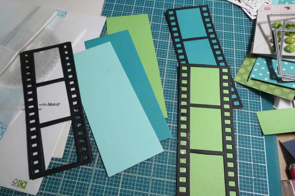 Mosaic Moments Filmstrip Die Adhering to the paper tile strips