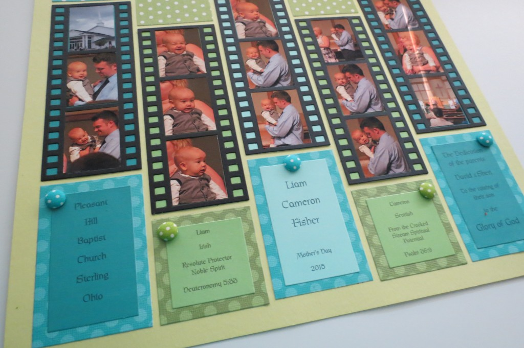 Mosaic Moments Filmstrip Die Adding the journaling and buttons t finish things off