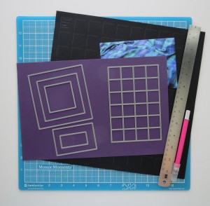 """Mini Album Maxi Look Die Sets A, C and 1"""" grid tiles Craft mat, X-Acto knife, ruler, Grids, Cardstock and photos"""