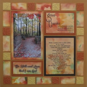 "MM Gratitude layout #! with Pattern # 166 and ""designer"" paper tiles."