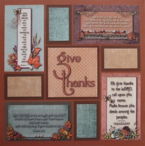 MM Gratitude Layout #3 Hybrid Scrapbook page using digital kits from Kimeric Kreations.