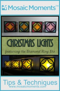 MM Christmas Lights Quick and Easy Project for making the season festive with lea light covers made with the Diamond Ring cornerstone die