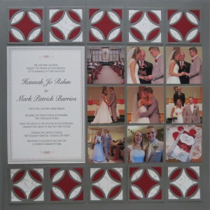 Diamond Ring Die layout one with scarlet and gray border alternating squares