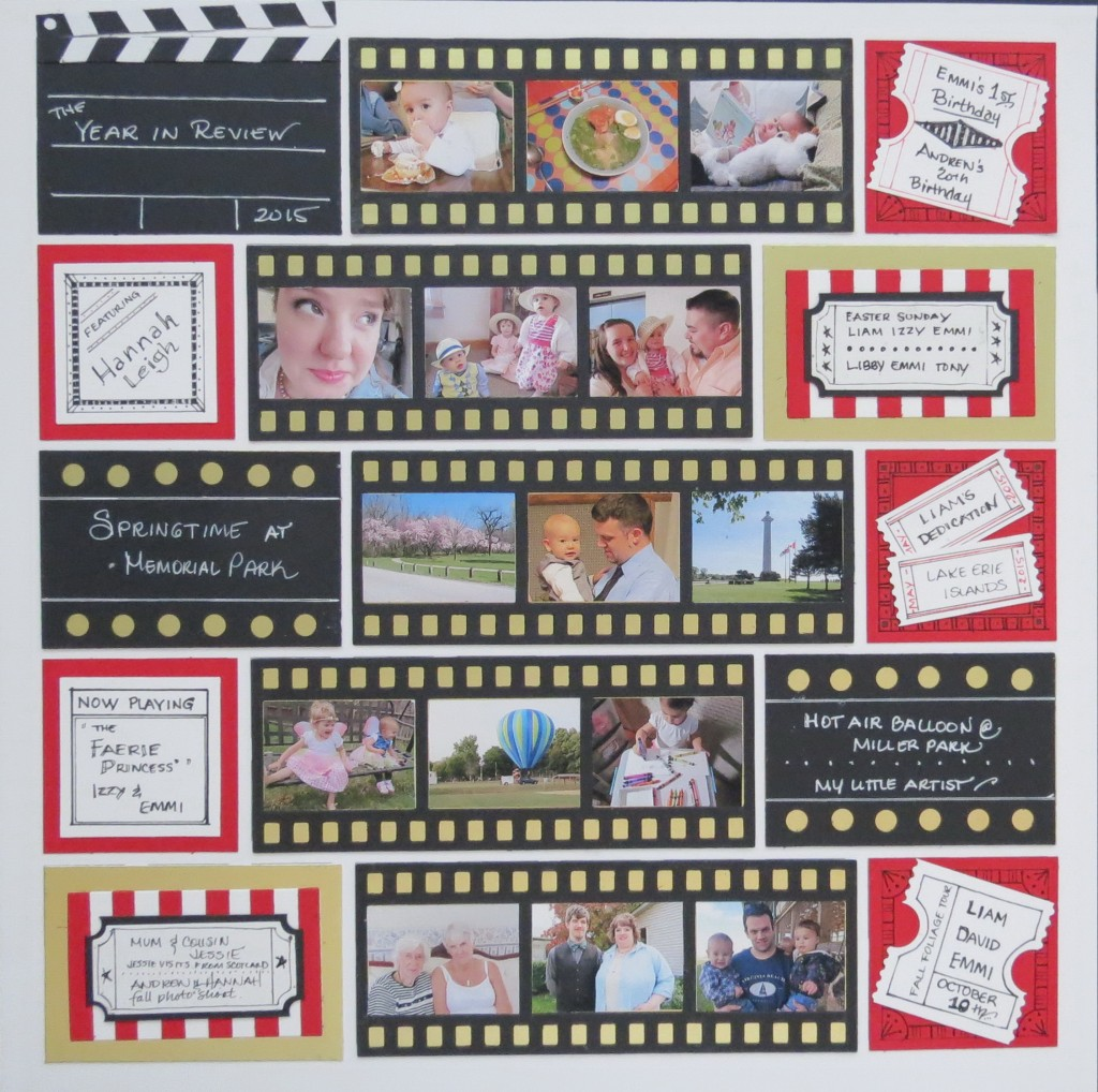 MM Remembering 2015 Year in Review layout featuring Film Strip Die.