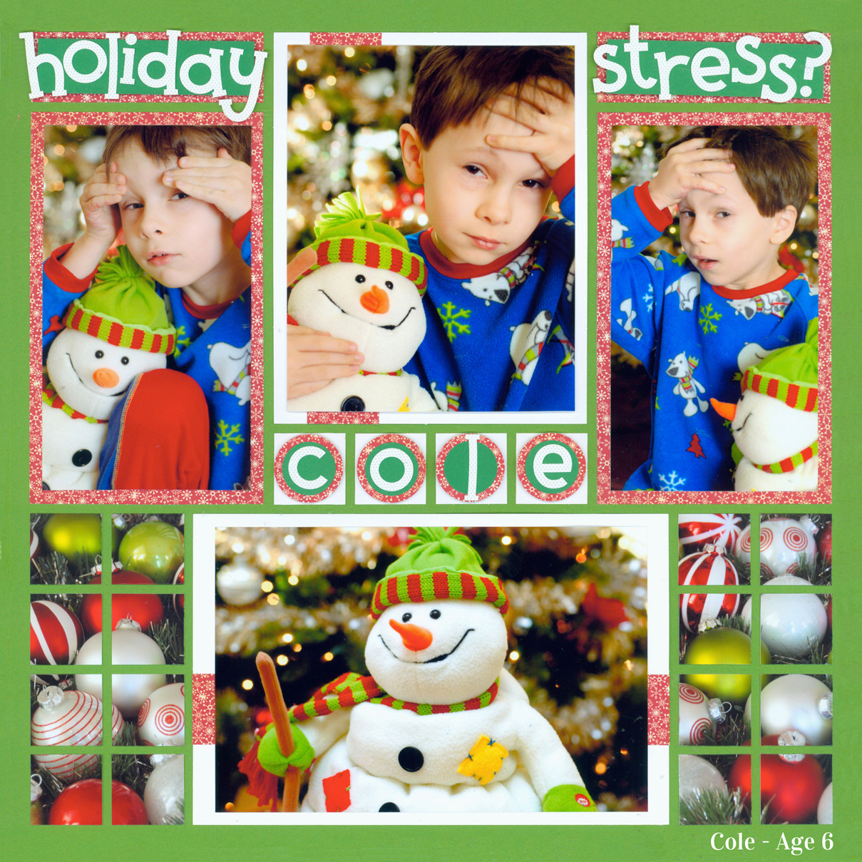 Holiday Scrapbook Pages - Holiday Stress