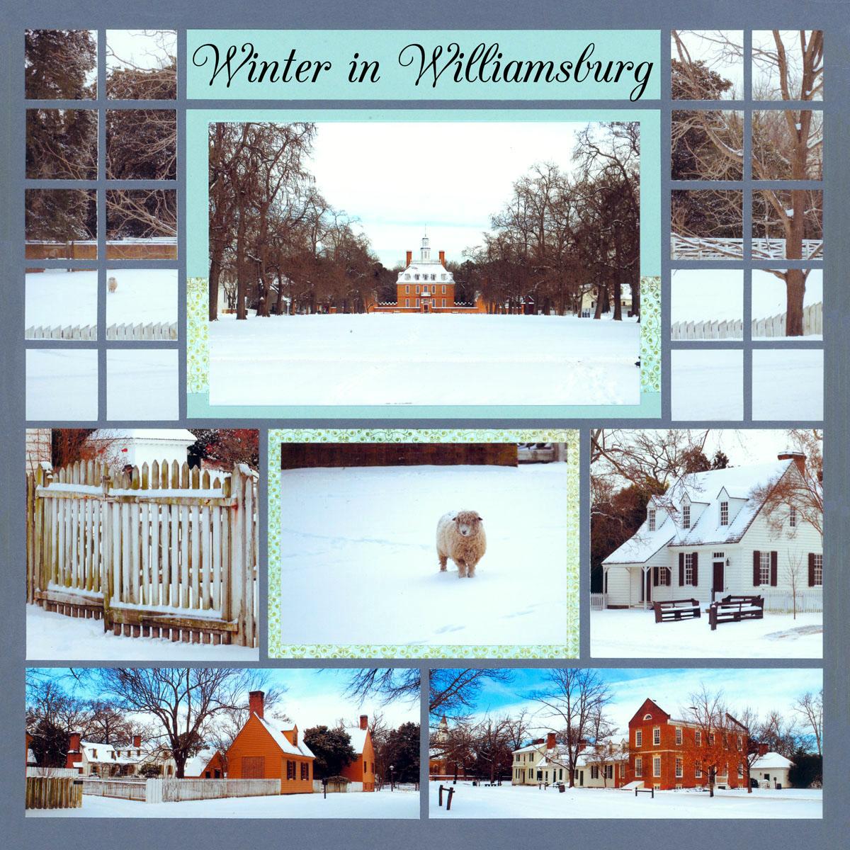 Winter scrapbook Pages - Winter in Williamsburg