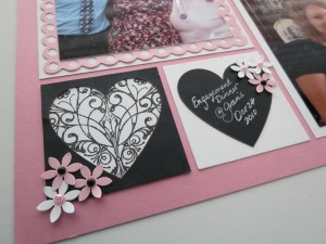 MM Finishing Touches Embellishments rubber stamp images, Heart Tiles, chalkboard journaling and punched flowers with pearls.