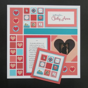 """MMTYS 1"""" heart square die plays a big role in this waiting for baby layout"""