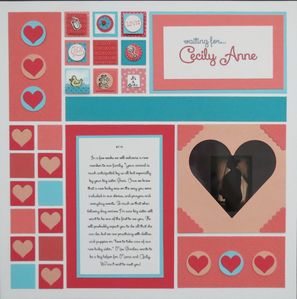 """MM TYS Waiting for  Cecily Anne baby layout with Inchies and matching card. Using Mosaic Moments 1"""" heart frame tile and scallop corner tiles"""