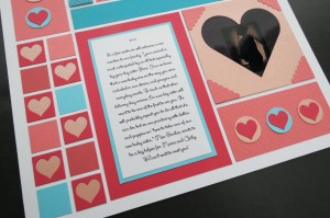 """MM TYS journaling block with the story. 1"""" heart frames and Square Heart frame with scallop corner tiles"""