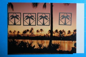 """MM Hawaiian Escape using photo to punch 1"""" squares for backdrop of palm trees."""