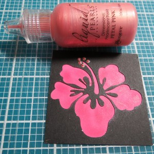 MM Hawaiian Escape Hibiscus Flower Cornerstone with chalked details and liquid pearls pink petals details.