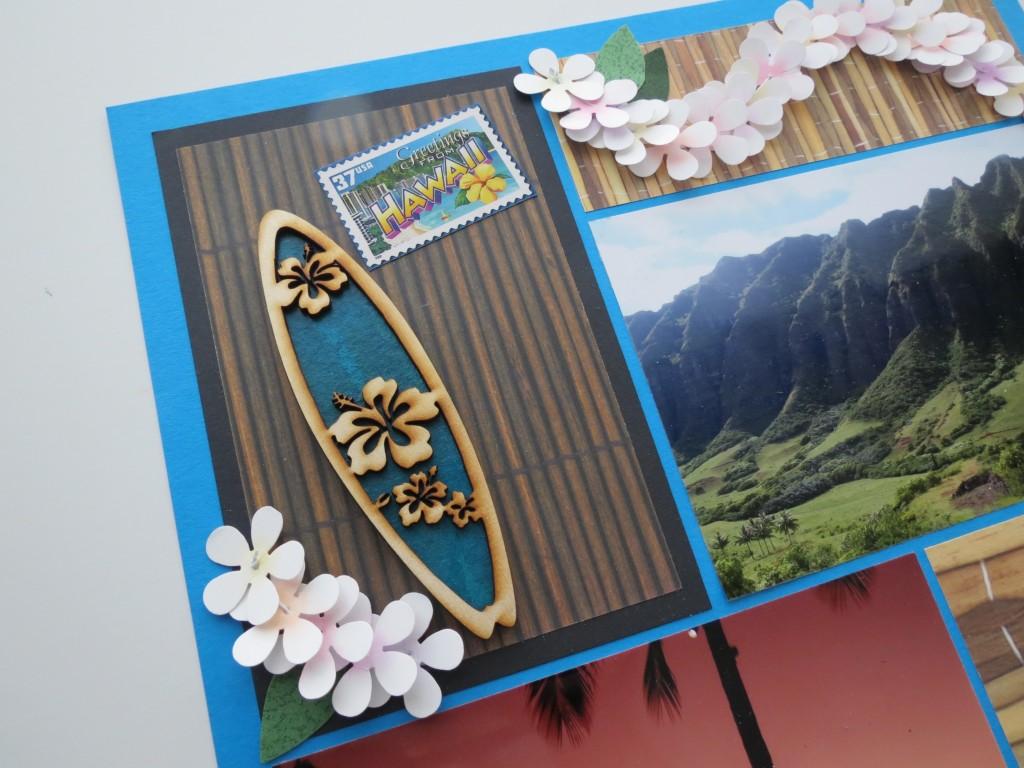 MM Hawaiian Escape surfboard, postage stamp embellishments