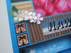 """MM Hawaiian Escape palm tree 1"""" cornerstone tiles with sunset photo punched 1"""" squares backdrop."""