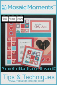 """MM TYS 1"""" Heart frame die and Inchies make this waiting for baby layout pure sweetness."""