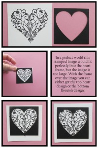 MM Finishing Touches embellishments using Rubber stamps, MM Heart Tiles
