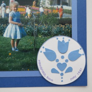 MM Going Dutch monochromatic blues inspired by Delft patterns Circular embellishment with handmade elements