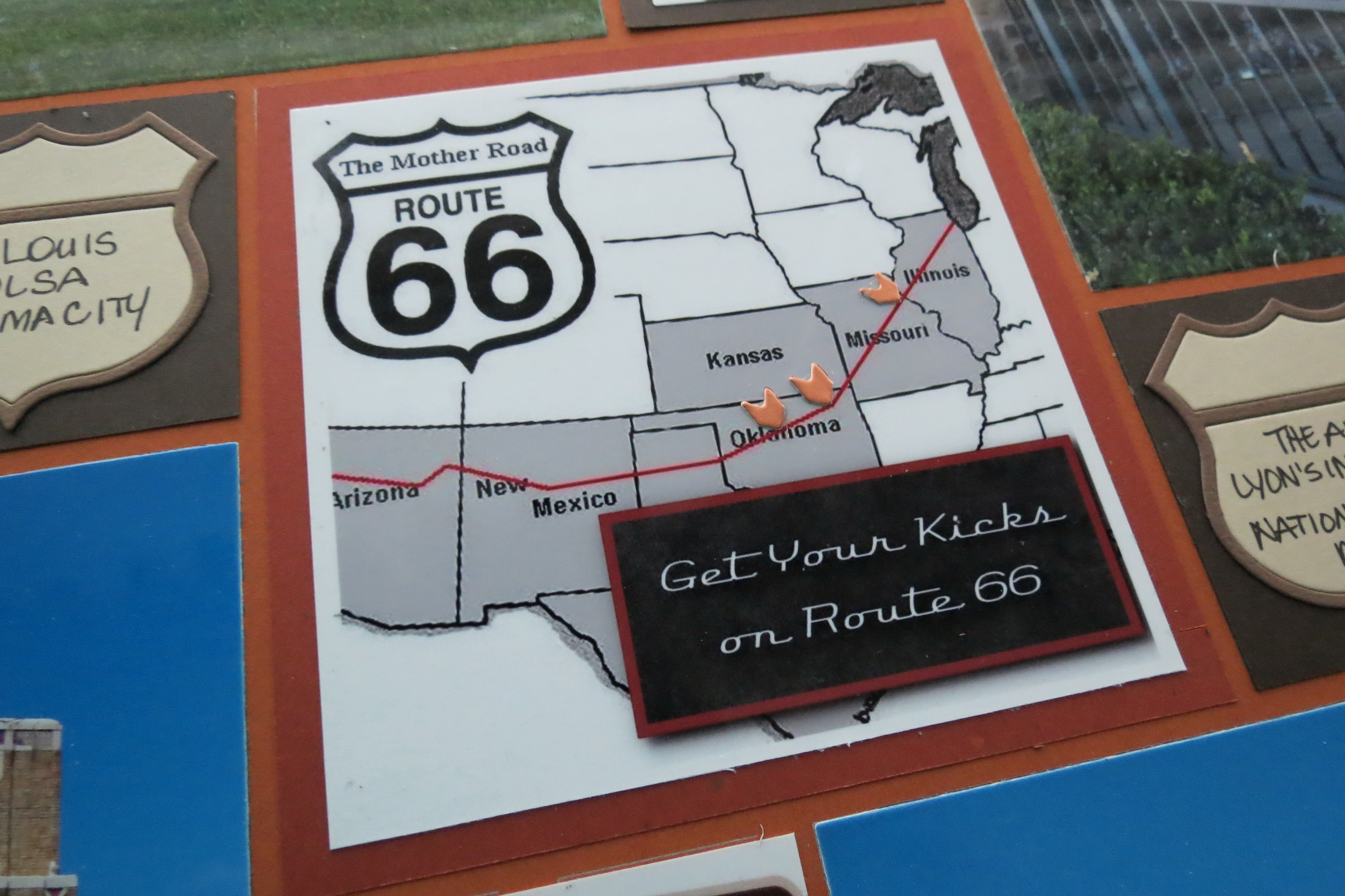 Get Your Kicks on Route 66 - Mosaic Moments Page Layout System Map Of Rt Signs on