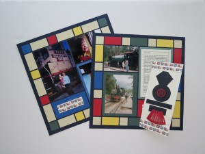 MM Tell Your Story Once Upon A Train layout and card Primary muted colors on Navy Grid
