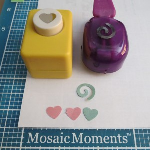MM Focal Point: drop flower embellishments using a heart and swirl punch.