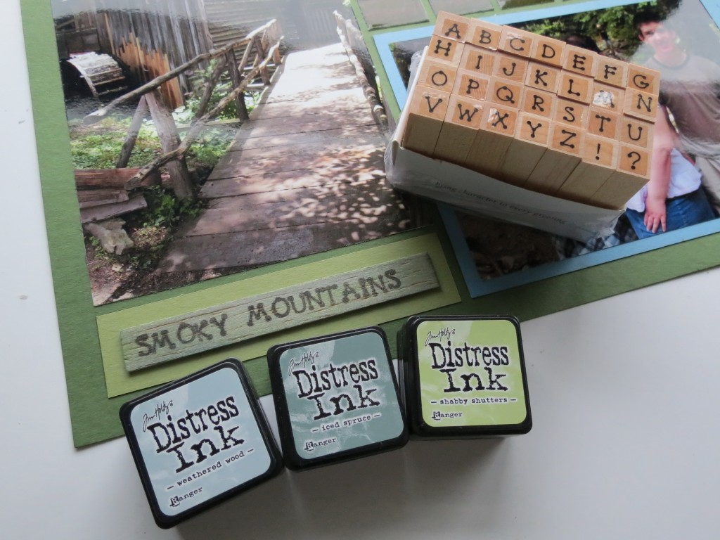 MM Panoramic Layouts Getting the Big Picture Balsa Wood tag inked with Distress Inks and stamped
