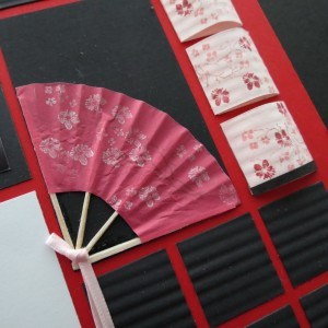MM Inspiration Tokyo Cherry Blossoms adding small ribbon know covers the trimmed ends of the fan.