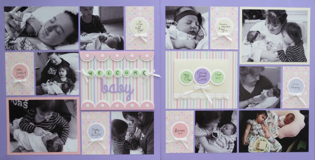 MM-TYS Welcome Baby two page layout in Tell Your Story series