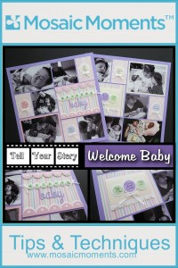 MM-TYS Tell Your Story series continues with this Welcome Baby page and the scallop border banner die from the Border Banner Dies Set