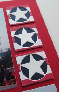 MM TYS DC Stars & Stripes layered stars white on navy with patterned paper circle frame topper