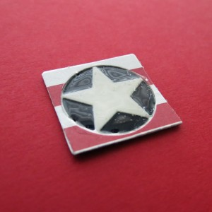 MM TYS DC Stars & Stripes alternate star tile with center section flooded with liquid acrylic to create a button effect.