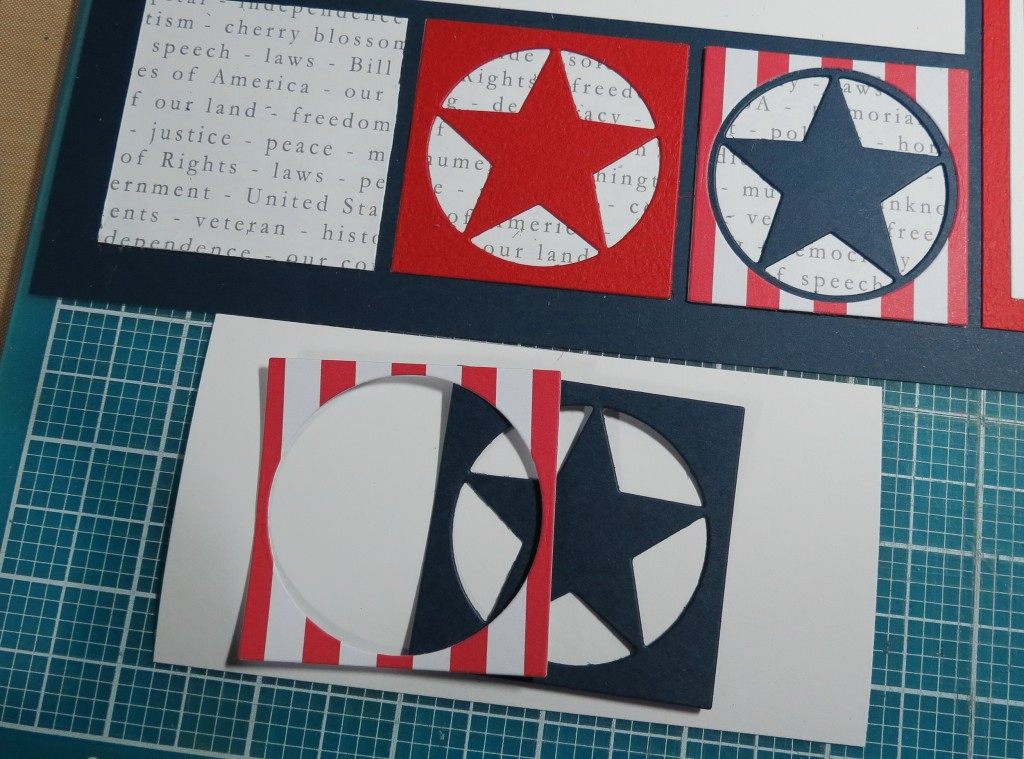 """MM TYS DC Stars & Stripes layering the stars on pattern paper navy star die cut with stripe paper circle frame die overlay for """"framed star look"""