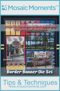 MM Banner Borders Die Set make dressing up this NASCAR themed page first place in quick and easy scrapbook pages
