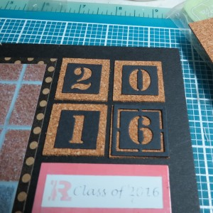 MM OTW Scrapbook Trends: Fiber this date block in cork with MM Number tiles altered