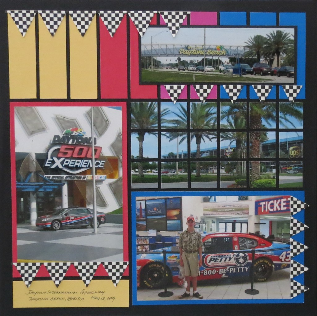 MM Pattern #251 Banner Borders Die Set in this NASCAR themed scrapbook layout and make that checkered flag a feature.