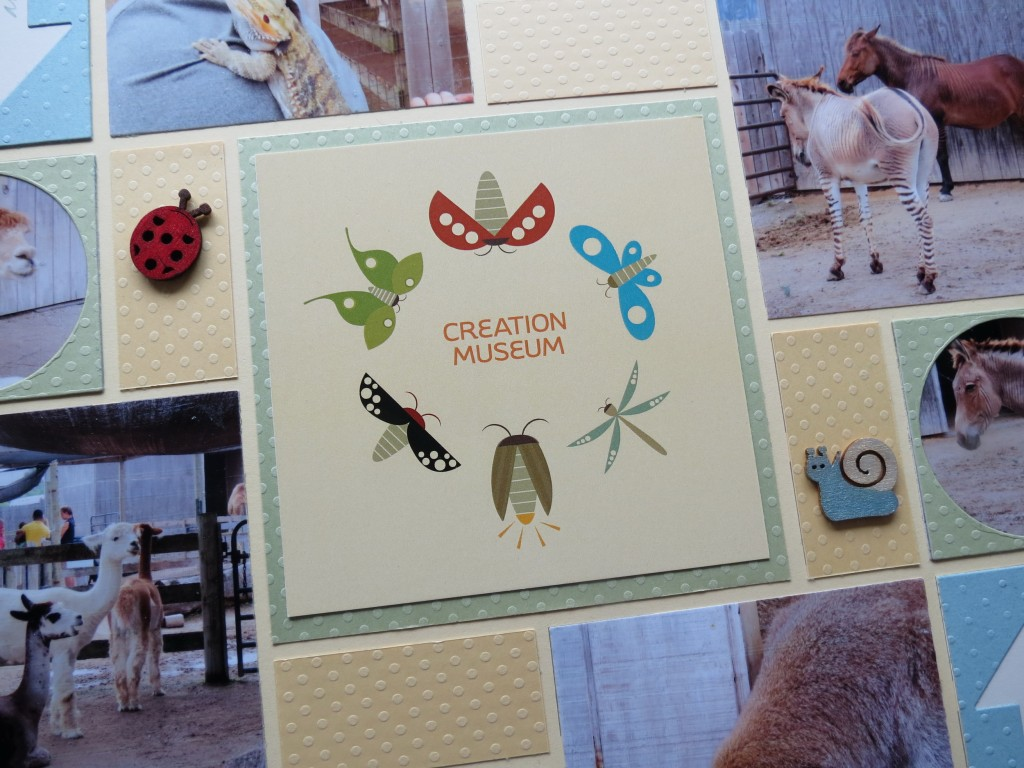 MM Title block using a purchased postcard. and ladybug and snail wooden embellishments