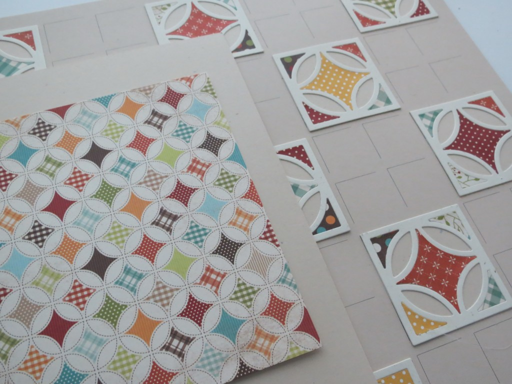 Simple Stories pattern paper and Beach Mosaic Moments Grid with Milkweed tiles