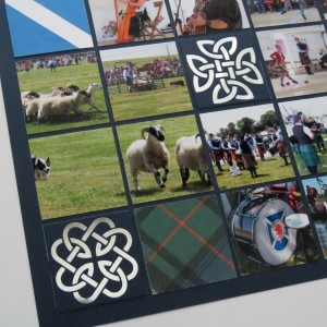 Mosaic Moments Celtic Knots Cornerstone Die Set Navy on silver Tartan paper tiles and Sheep Dog Trials photos