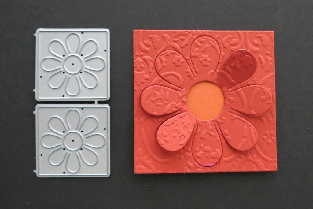 Mosaic Moments Petal Popper Die Set with embossing from Textile embossing folder