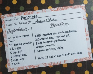 MM TYS Pancake recipe using Amber Shaw and Traci Reed's card from Thyme in the Kitchen digital kit.