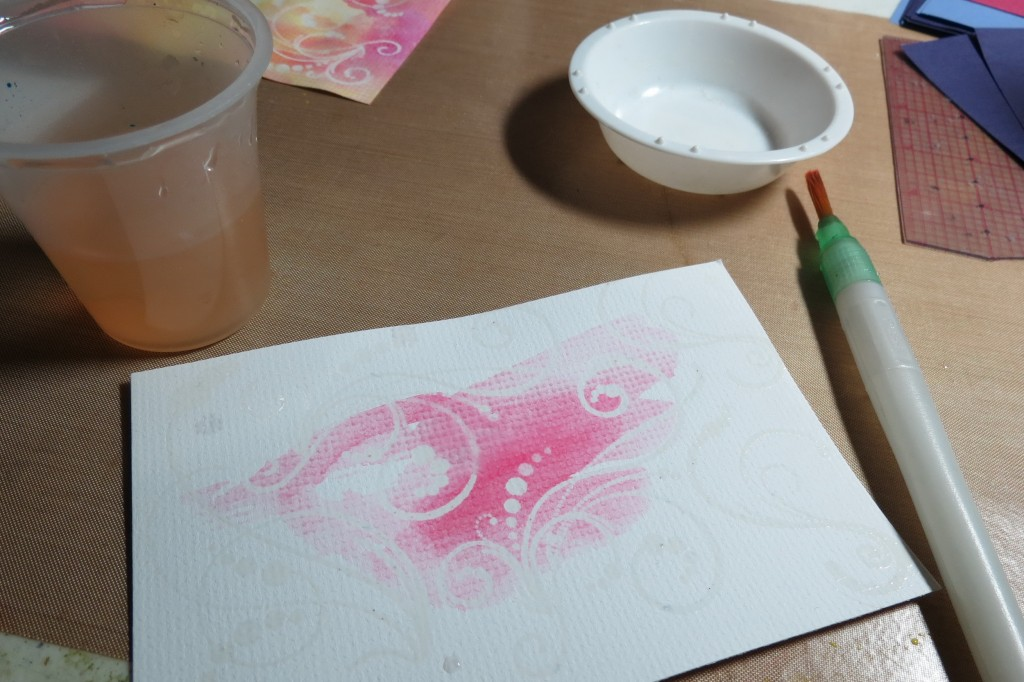 MM Water Color applied over the heat set embossed images (1)