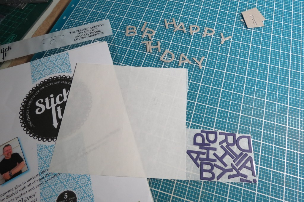 Mosaic Moments Alphabet 2 Die Set to cut title in chipboard and cardstock adhere with Stick It!
