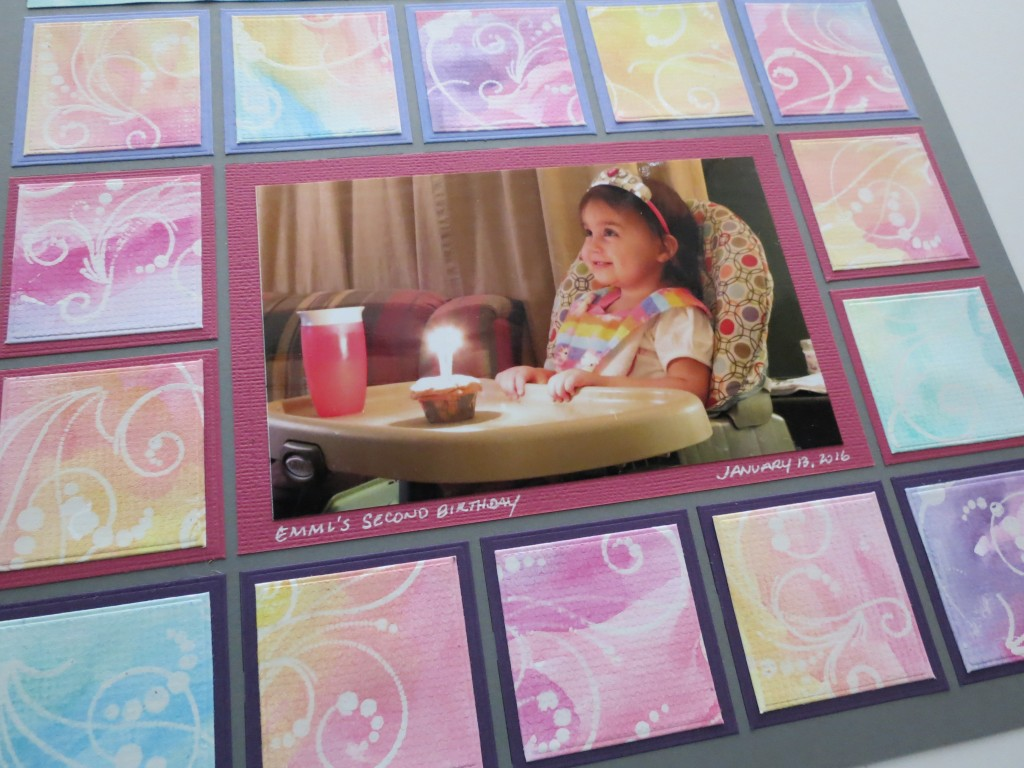 MM watercolor resist tiles surround central photo