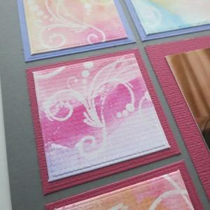 MM Watercolor resist technique applied to die cut squares