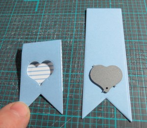 MM PG Banner Die cutting the heart from the banner for see through effect