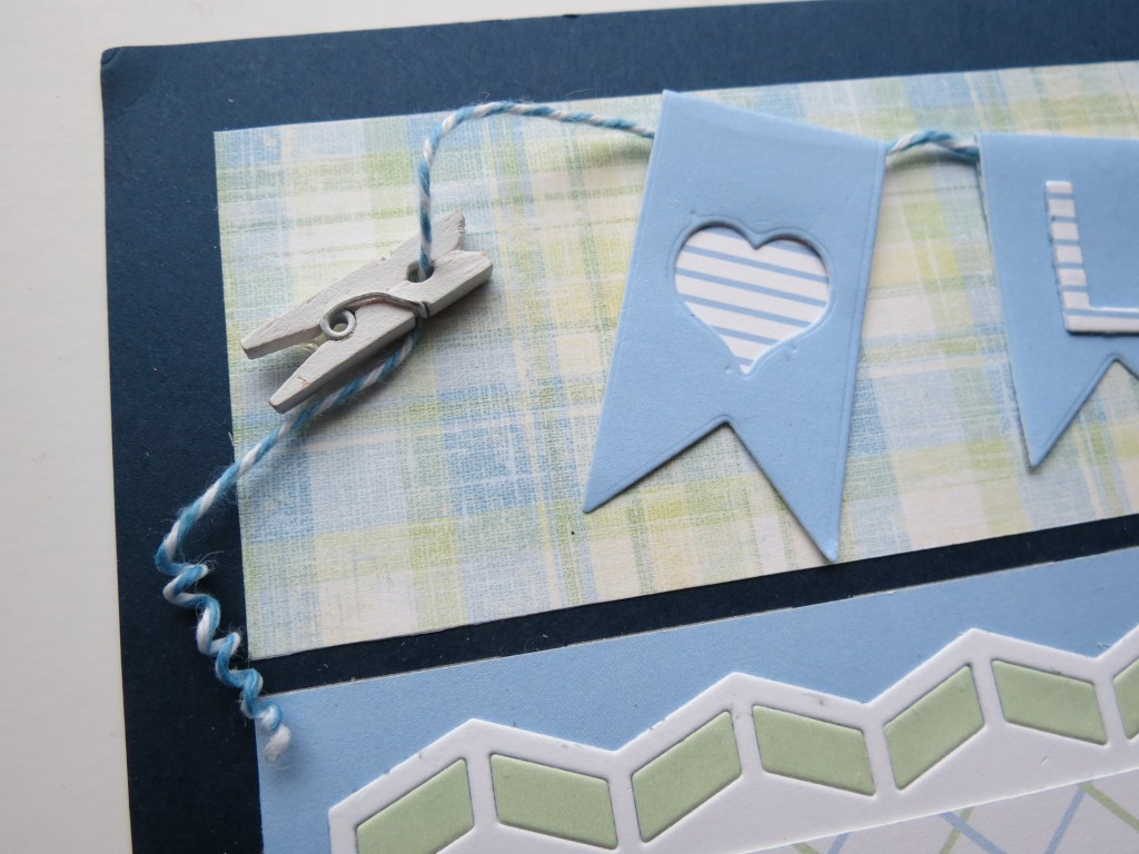 MM PG Banner Die with clothespin and twine coil detail
