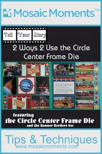 Mosaic Moments Circle Center Frame Die and Emerald Grid paper
