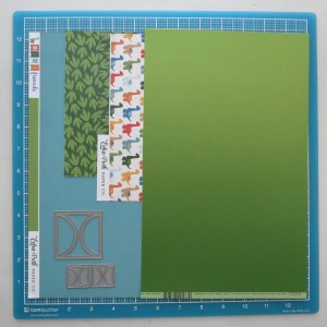 Echo Park Dinosaurs Paper and Bazzill Basic Ombre Paper in Green, Half-Circle Die Sets