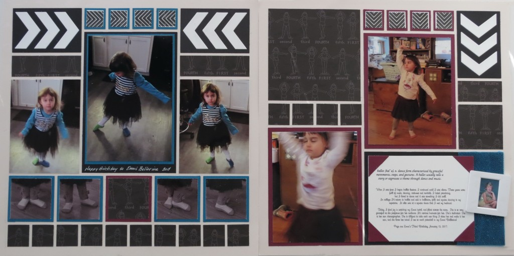 """MM Tell Your Story Tying Two Tales Together: """"Emmi Ballerina"""" Two Page Layout Chevron Die Petal Pink Grid Paper"""