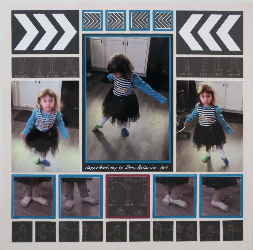 """MM Tell Your Story Tying Two Tales Together: """"Emmi Ballerina"""" page 1 Chevron Die Petal Pink Grid Paper"""